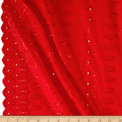Fancy Allover Eyelet Red