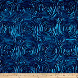 Wedding Rosette Satin Peacock Blue Fabric