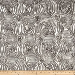 Wedding Rosette Satin Silver Fabric