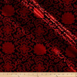 Chinese Brocade Sateen Medallion Red/Black Fabric