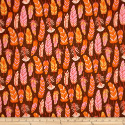 Moda Wing & Leaf Feathers Chestnut Fabric