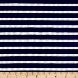 Rib Knit Stripe Navy/Ivory Fabric