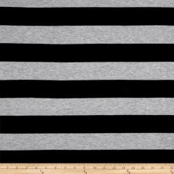 Poly Rayon Spandex Jersey Knit 2X2 Stripe Black/Heather