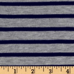 Rayon Spandex 1/2 X 1/4 Yarn Dyed Stripes Jersey Knit Light Heather Gray/Navy