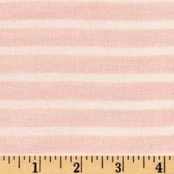 Rayon Spandex 1/2 X 1/4 Yarn Dyed Stripes Jersey Knit  A.Rose/Ivory Fabric