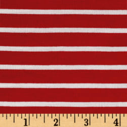Rayon Spandex 1/2 X 1/4 Yarn Dyed Stripes Stretch Jersey Knit Red/Ivory