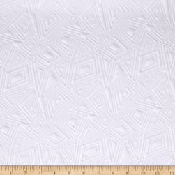 Geometric Quilted Knit White Fabric