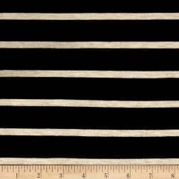 "Wide Lanes 1"" Stripe Rayon Jersey Knit Black/Oatmeal"