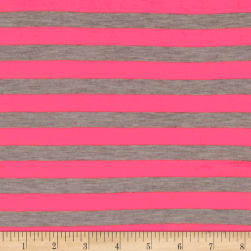 "Jersey Knit 1/2"" Stripe Heather Gray/Neon Pink"