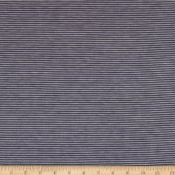 Pin Stripe Jersey Knit Heather Gray/Navy Fabric