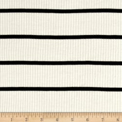 4X2 Rib Knit Stripe Ivory/Black Fabric