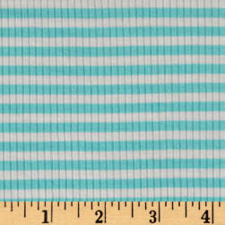 4X2 Rib Knit Small Stripe Ivory/Mint Fabric