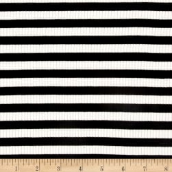 4X2 Rib Knit Medium Stripe Ivory/Black