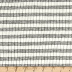 4X2 Rib Knit Medium Stripe Heather Gray/Ivory Fabric