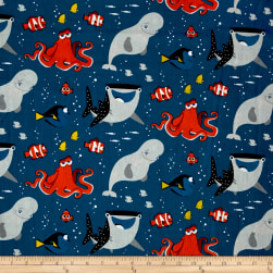 Disney Finding Dory and Friends Blue Fabric