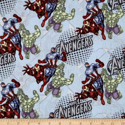 Marvel Avengers Assemble Blue Fabric