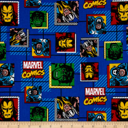 Marvel Retro Comics Block Blue Fabric