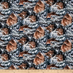 Wild Wings Narragansett Creek Pine Wolves Multi Fabric