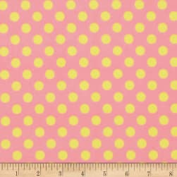 Kimberbell Little One Flannel Too! Dots Pink Yellow Fabric