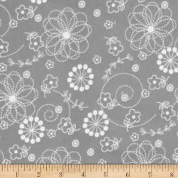 Kimberbell Little One Flannel Too! Doodles Grey Fabric