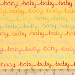 Modern Tyke Words Yellow Fabric
