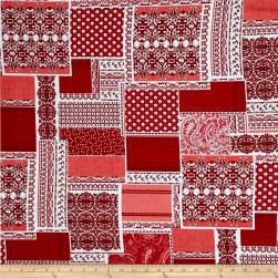 Let Freedom Ring Patchwork Red/White Fabric