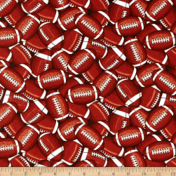 Timeless Treasures Packed Footballs Brown