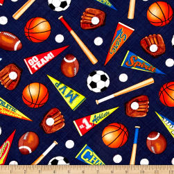 Timeless Treasures Mixed Sports Navy Fabric