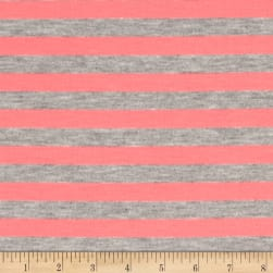 "Rayon Jersey Knit 1/2"" Stripe Heather Gray/Neon Pink"