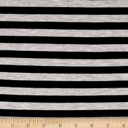"Rayon Jersey Knit 1/2"" Stripe Heather Gray/Navy"