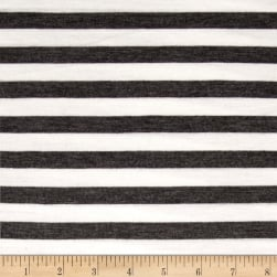 Rayon Jersey Knit 1/2'' Stripe Charcoal/Off White Fabric
