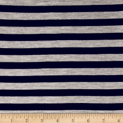 "Rayon Jersey Knit 1/2"" Stripe Heather Gray/Black"
