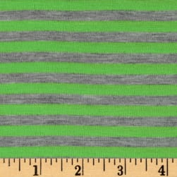 "Polyester Spandex Jersey Knit 1/4"" Stripe Heather Gray/Green"