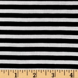 Polyester Spandex Jersey Knit 1/4'' Stripe Black/Off White Fabric
