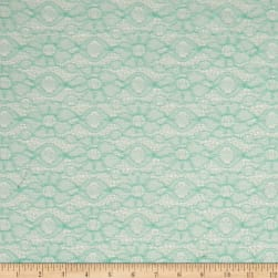 Double Daisy Crochet Lace Mint Fabric