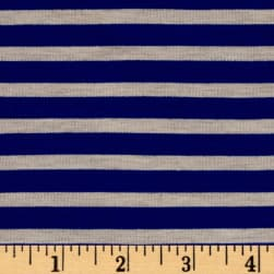 Rayon Spandex Jersey Knit 1/4 Stripe Royal/Oatmeal Fabric
