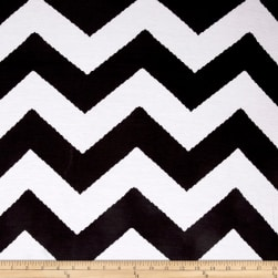 Rayon Stretch Jersey Knit Chevron Stripe Black/White