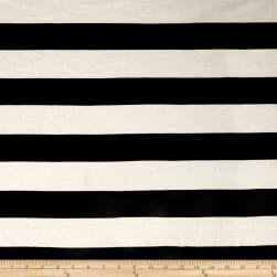 Poly/Cotton Jersey Knit 2'' Stripe Black/Ivory Fabric
