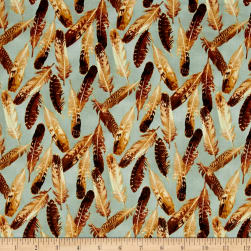 Quail Feathers Blue Fabric