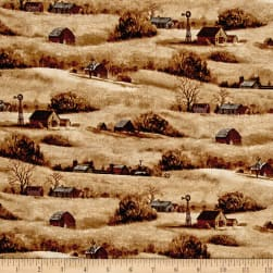 Quail Farm Houses Brown Fabric