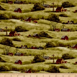 Quail Farm Houses Green Fabric