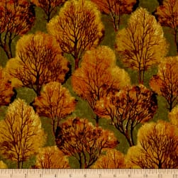 Quail Trees Orange Fabric