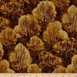 Quail Trees Brown Fabric