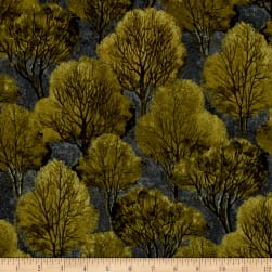 Quail Trees Green Fabric