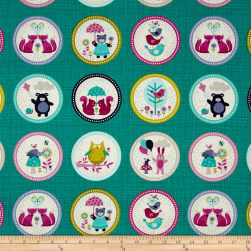 Windy Day Labels Teal Fabric