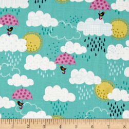 Windy Day Clouds Teal Fabric