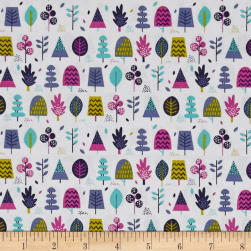 Windy Day Trees Teal Fabric