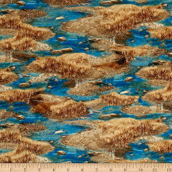 QT Fabrics Western Sundance Streams Blue Fabric