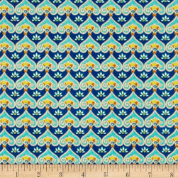 QT Fabrics Pretty As A Peacock Geometric Cobalt