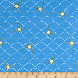 It's a Pond Party Jumping Frogs Blue Fabric